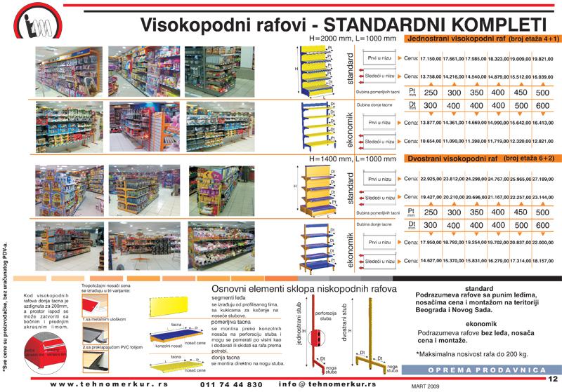 Visokopodni rafovi za opremanje prodavnica - standardni kompleti gondola